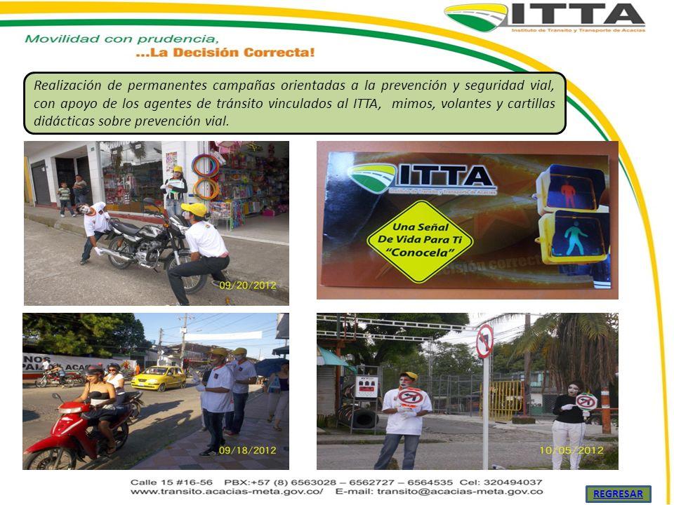 Realización de permanentes campañas orientadas a la prevención y seguridad vial, con apoyo de los agentes de tránsito vinculados al ITTA, mimos, volantes y cartillas didácticas sobre prevención vial.