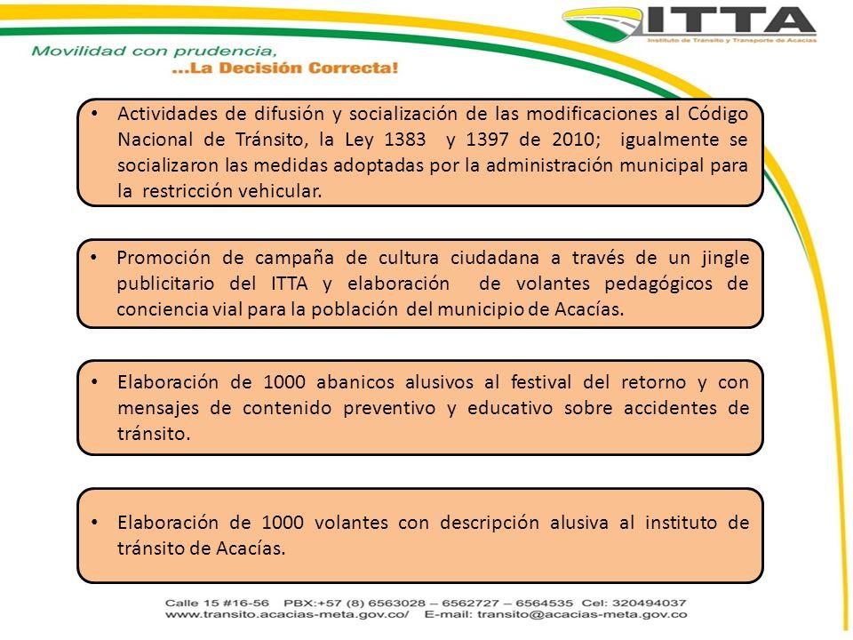 Actividades de difusión y socialización de las modificaciones al Código Nacional de Tránsito, la Ley 1383 y 1397 de 2010; igualmente se socializaron las medidas adoptadas por la administración municipal para la restricción vehicular.