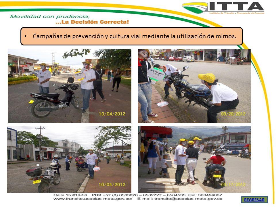 Campañas de prevención y cultura vial mediante la utilización de mimos.