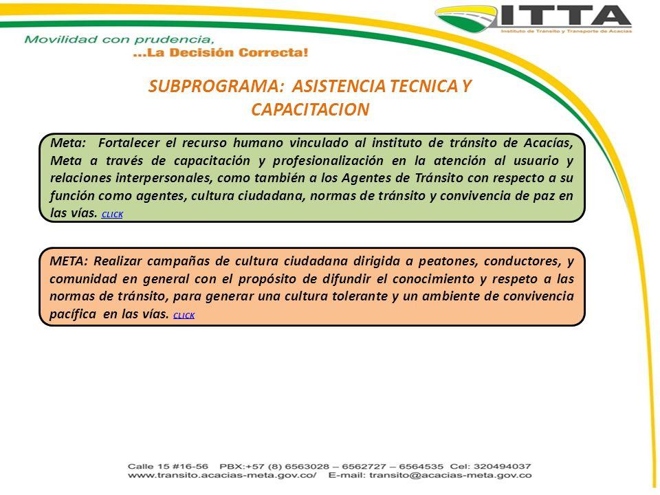 SUBPROGRAMA: ASISTENCIA TECNICA Y CAPACITACION