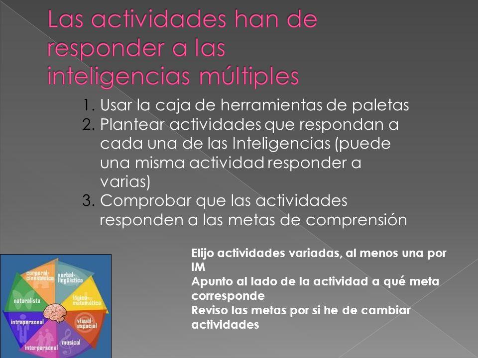 Las actividades han de responder a las inteligencias múltiples