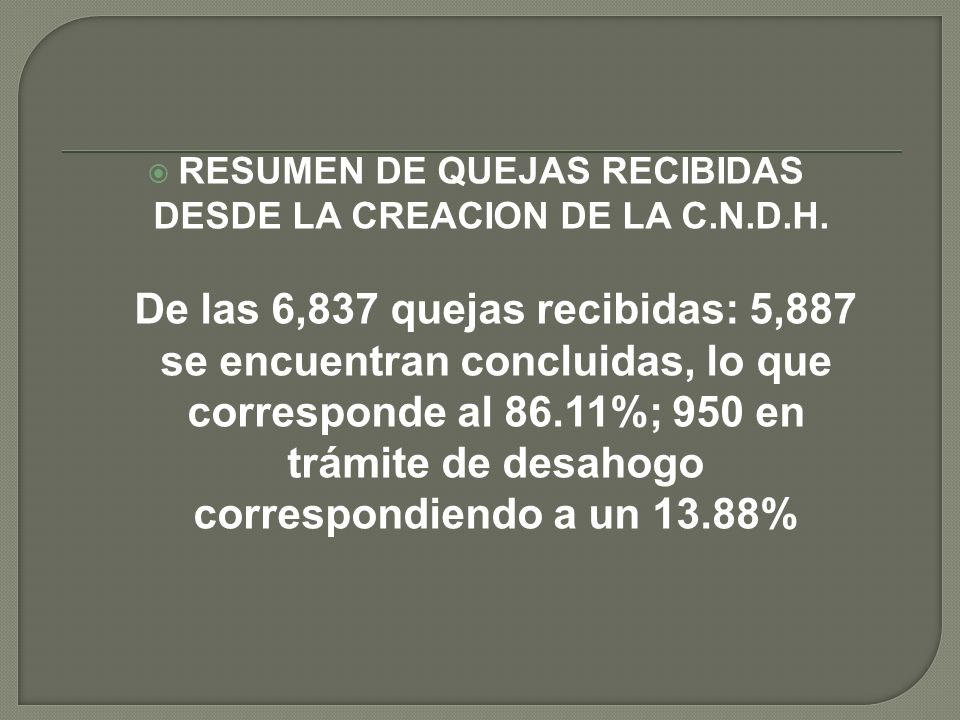 RESUMEN DE QUEJAS RECIBIDAS DESDE LA CREACION DE LA C.N.D.H.