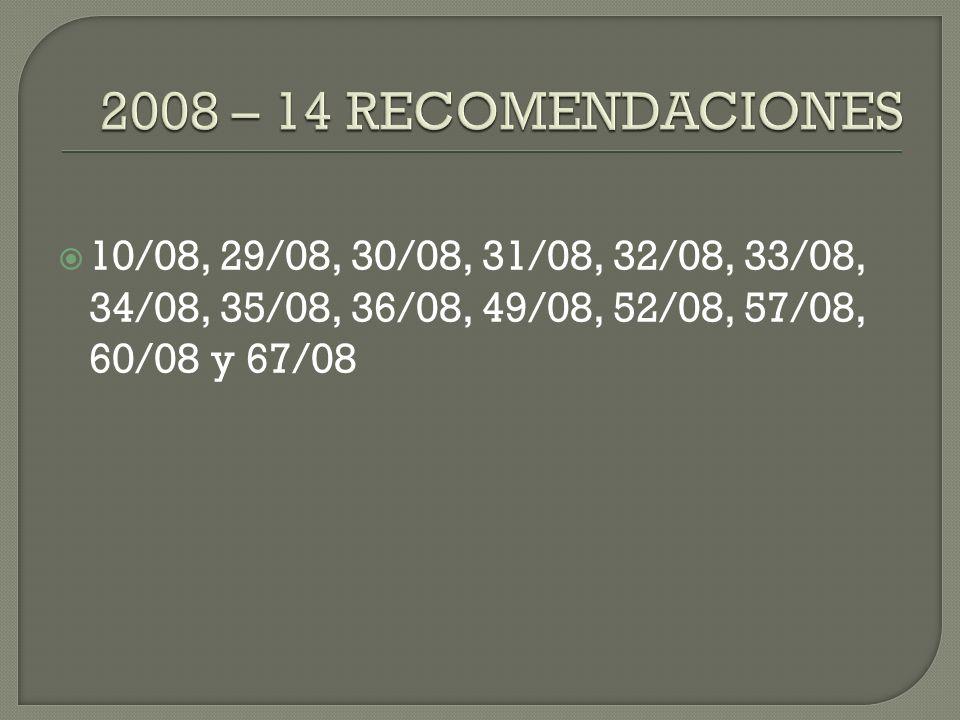 2008 – 14 RECOMENDACIONES 10/08, 29/08, 30/08, 31/08, 32/08, 33/08, 34/08, 35/08, 36/08, 49/08, 52/08, 57/08, 60/08 y 67/08.