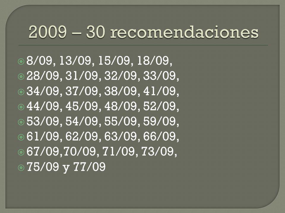 2009 – 30 recomendaciones 8/09, 13/09, 15/09, 18/09,