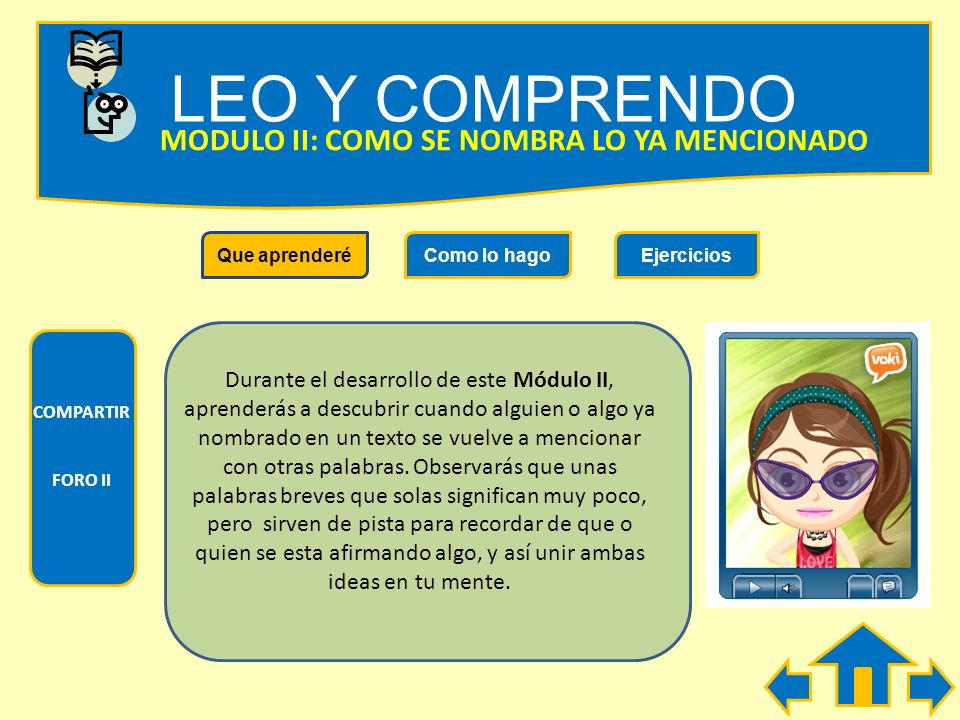 LEO Y COMPRENDO MODULO II: COMO SE NOMBRA LO YA MENCIONADO