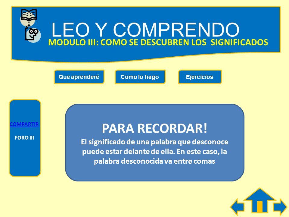 LEO Y COMPRENDO PARA RECORDAR!