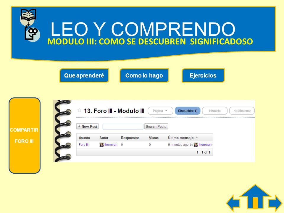 LEO Y COMPRENDO MODULO III: COMO SE DESCUBREN SIGNIFICADOSO