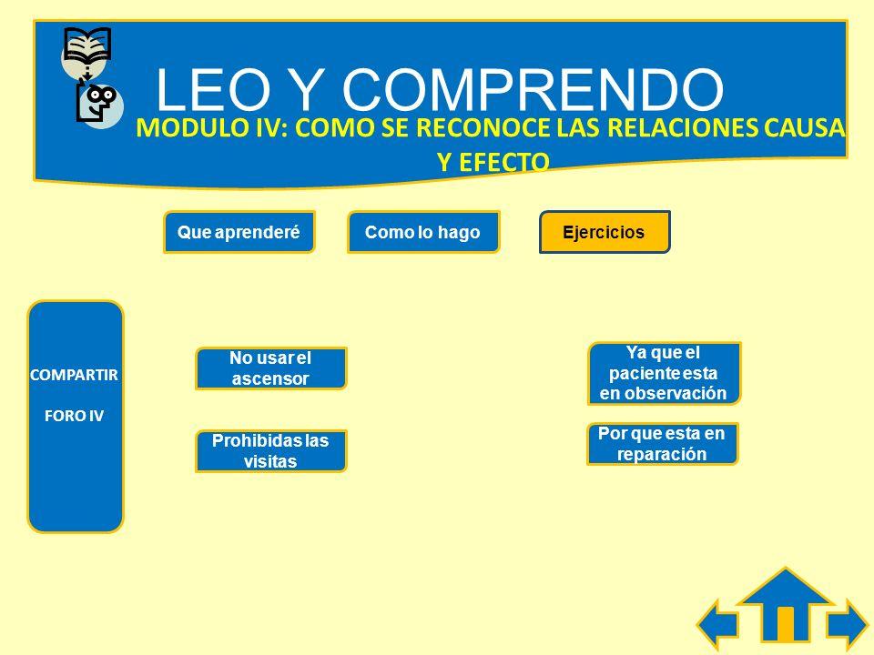 LEO Y COMPRENDO MODULO IV: COMO SE RECONOCE LAS RELACIONES CAUSA
