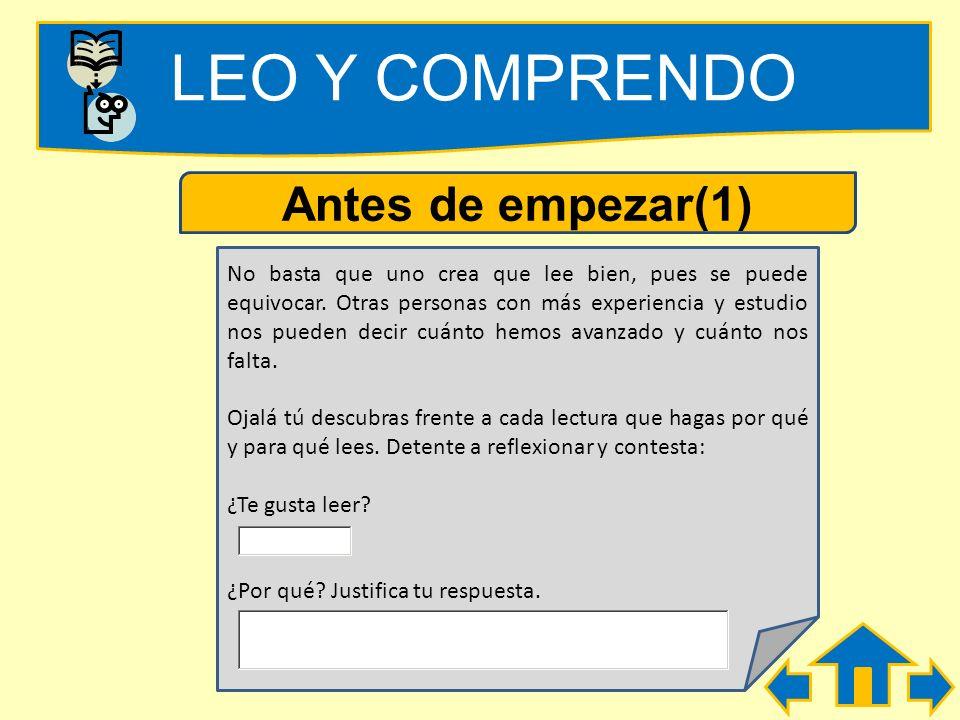 LEO Y COMPRENDO Antes de empezar(1)