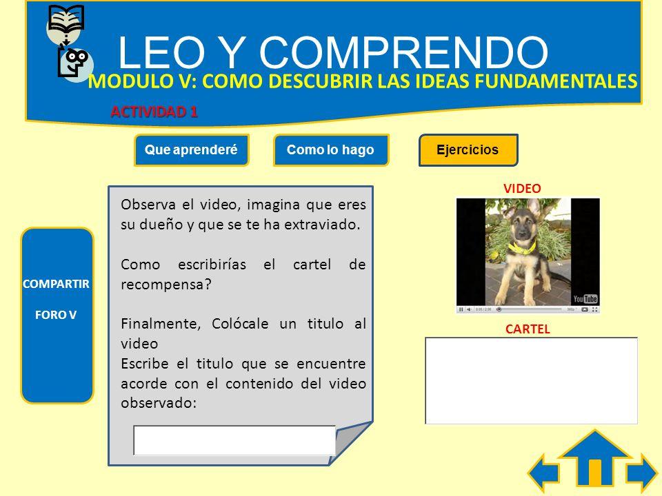 LEO Y COMPRENDO MODULO V: COMO DESCUBRIR LAS IDEAS FUNDAMENTALES