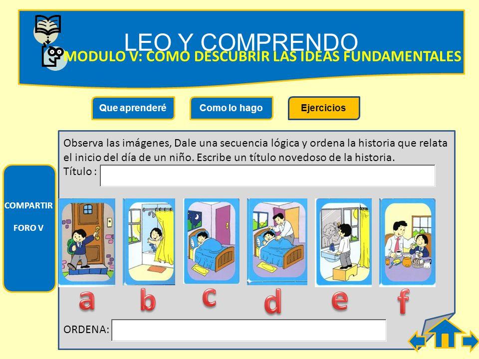 LEO Y COMPRENDO MODULO V: COMO DESCUBRIR LAS IDEAS FUNDAMENTALES. Que aprenderé. Como lo hago. Ejercicios.