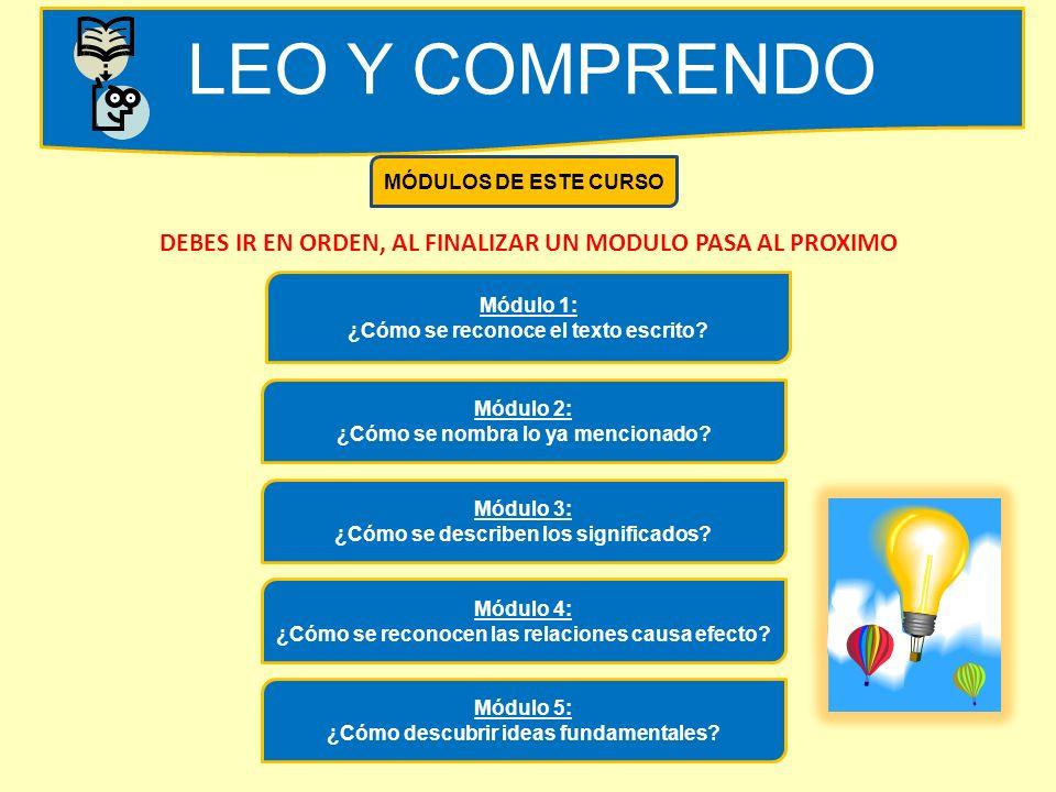 LEO Y COMPRENDO MÓDULOS DE ESTE CURSO. DEBES IR EN ORDEN, AL FINALIZAR UN MODULO PASA AL PROXIMO. Módulo 1: