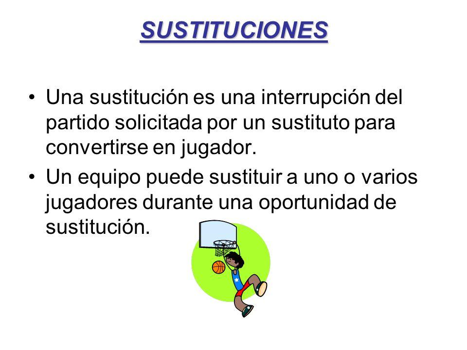 SUSTITUCIONES Una sustitución es una interrupción del partido solicitada por un sustituto para convertirse en jugador.