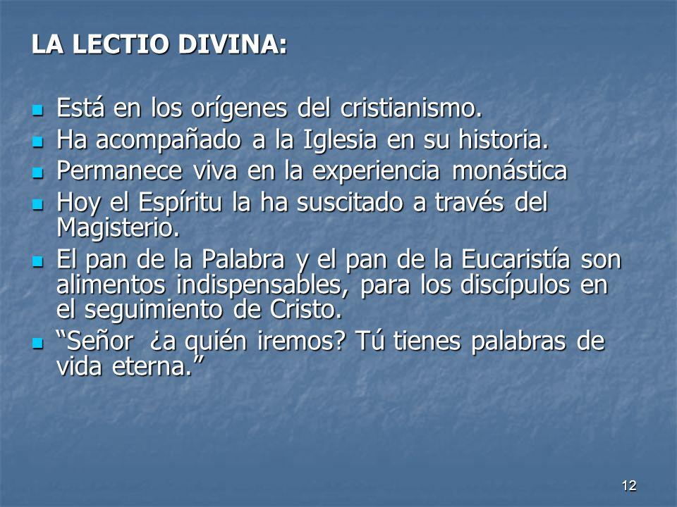 LA LECTIO DIVINA: Está en los orígenes del cristianismo. Ha acompañado a la Iglesia en su historia.