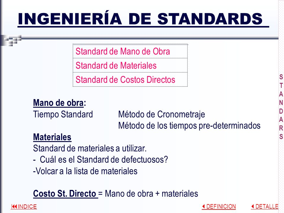 INGENIERÍA DE STANDARDS