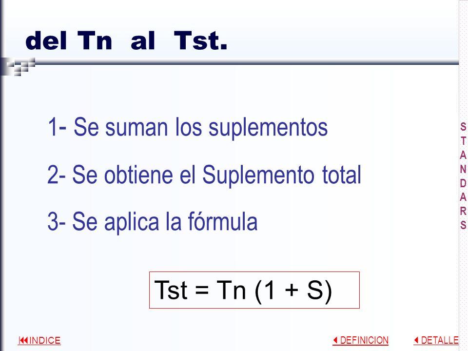 1- Se suman los suplementos 2- Se obtiene el Suplemento total