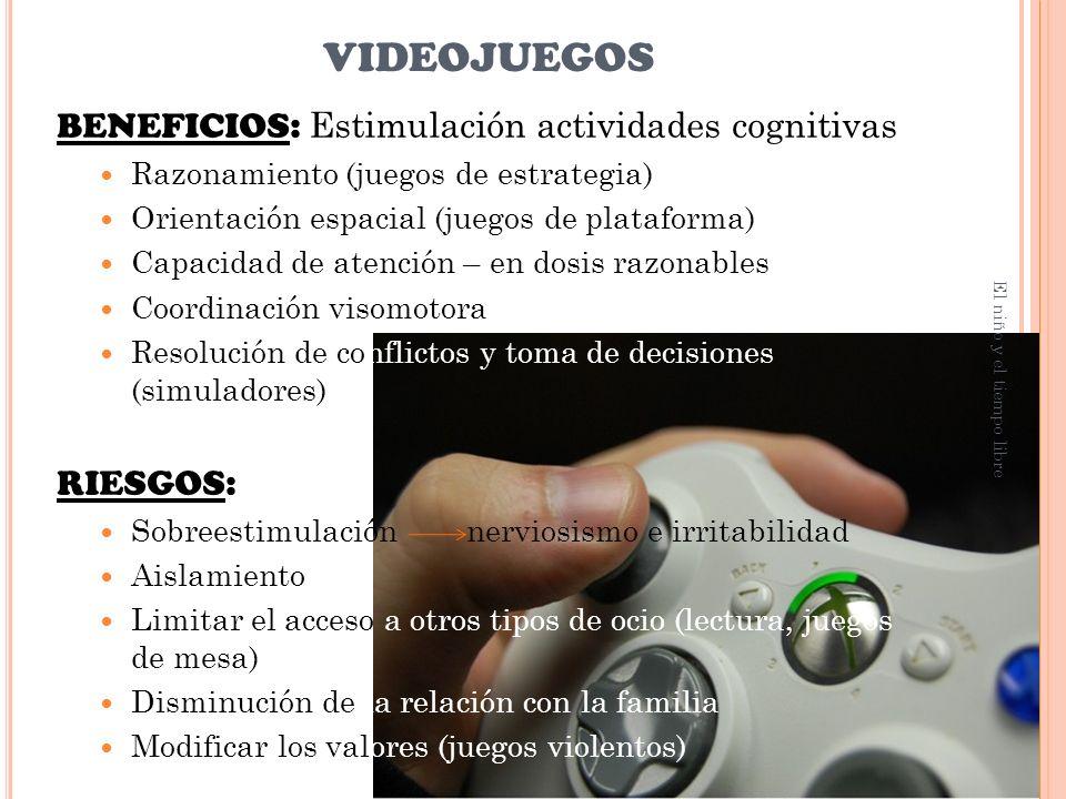 videojuegos BENEFICIOS: Estimulación actividades cognitivas RIESGOS: