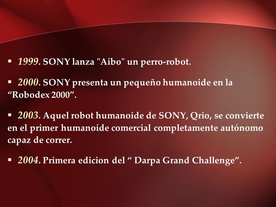 1999. SONY lanza Aibo un perro-robot.