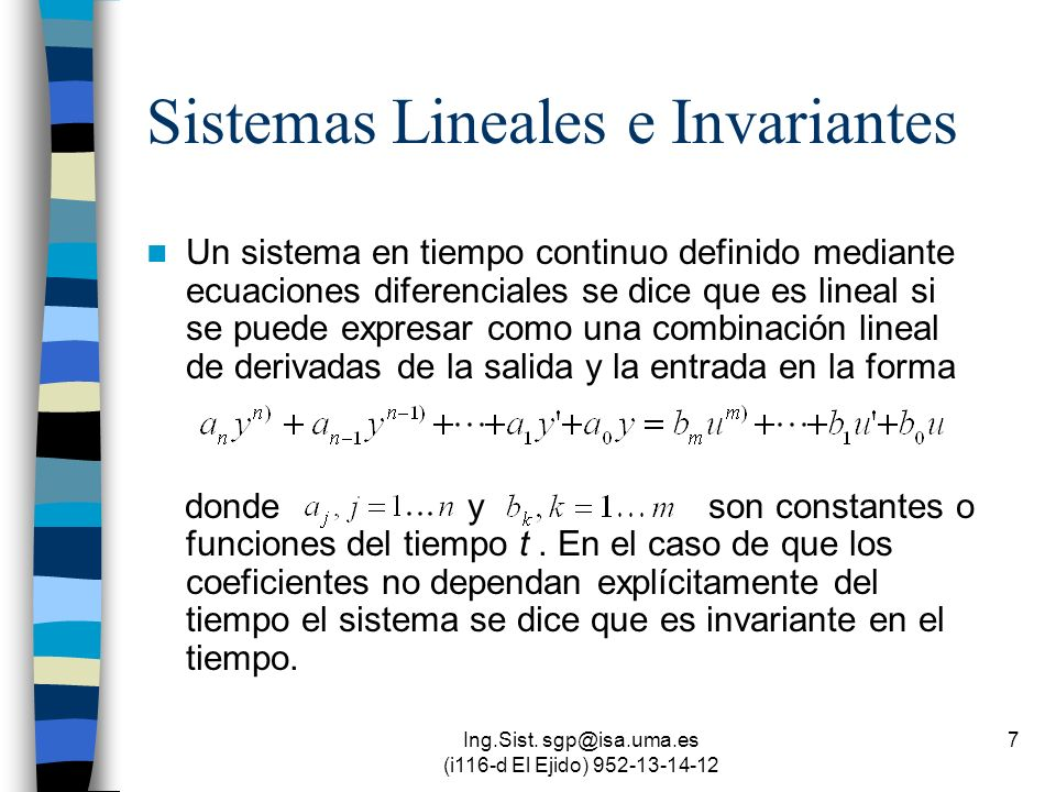 Sistemas Lineales e Invariantes