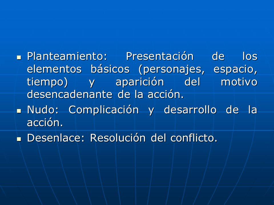 Planteamiento: Presentación de los elementos básicos (personajes, espacio, tiempo) y aparición del motivo desencadenante de la acción.