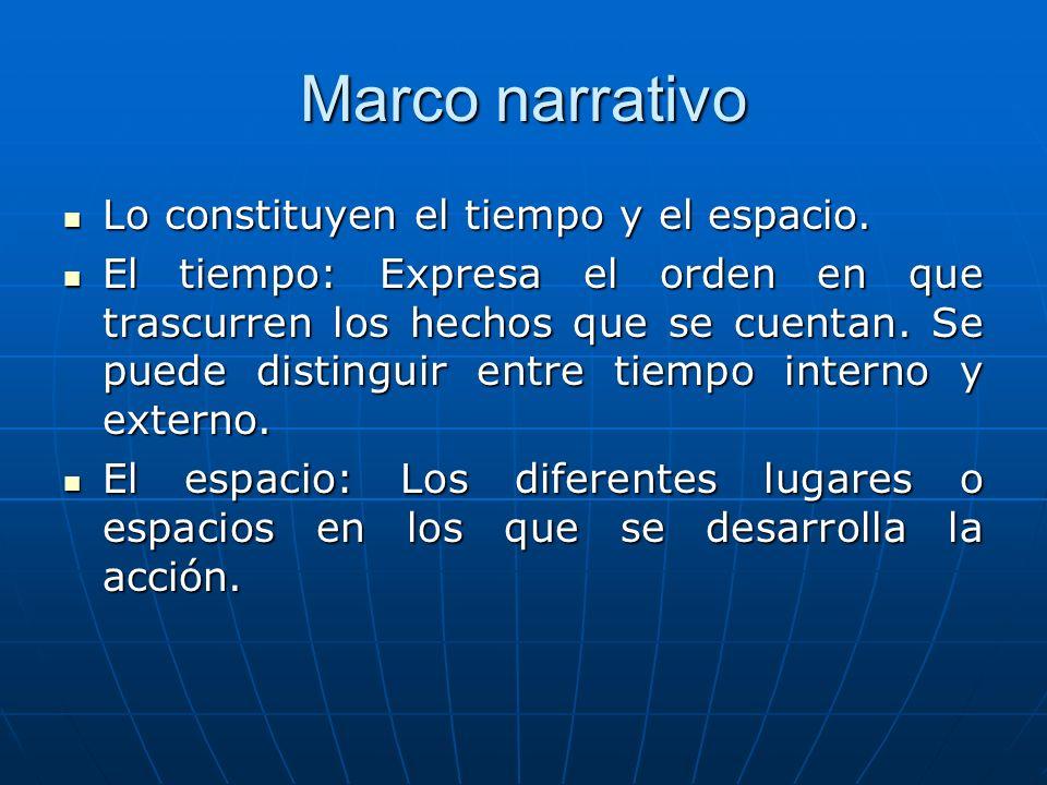 Marco narrativo Lo constituyen el tiempo y el espacio.