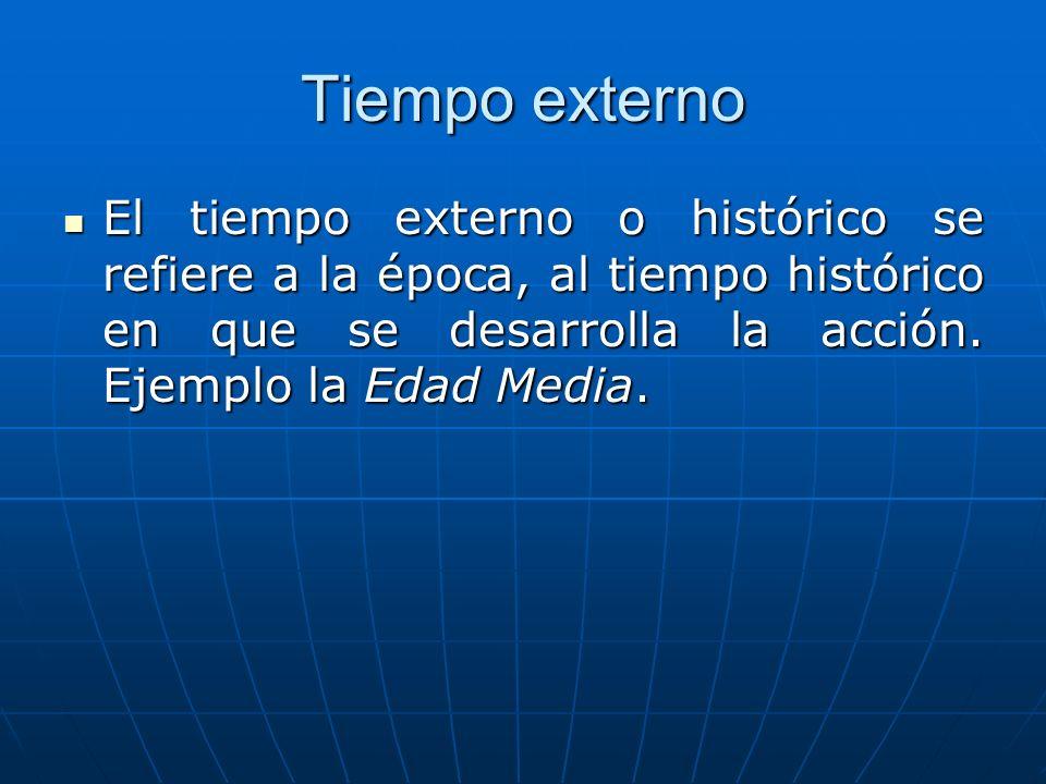 Tiempo externo El tiempo externo o histórico se refiere a la época, al tiempo histórico en que se desarrolla la acción.
