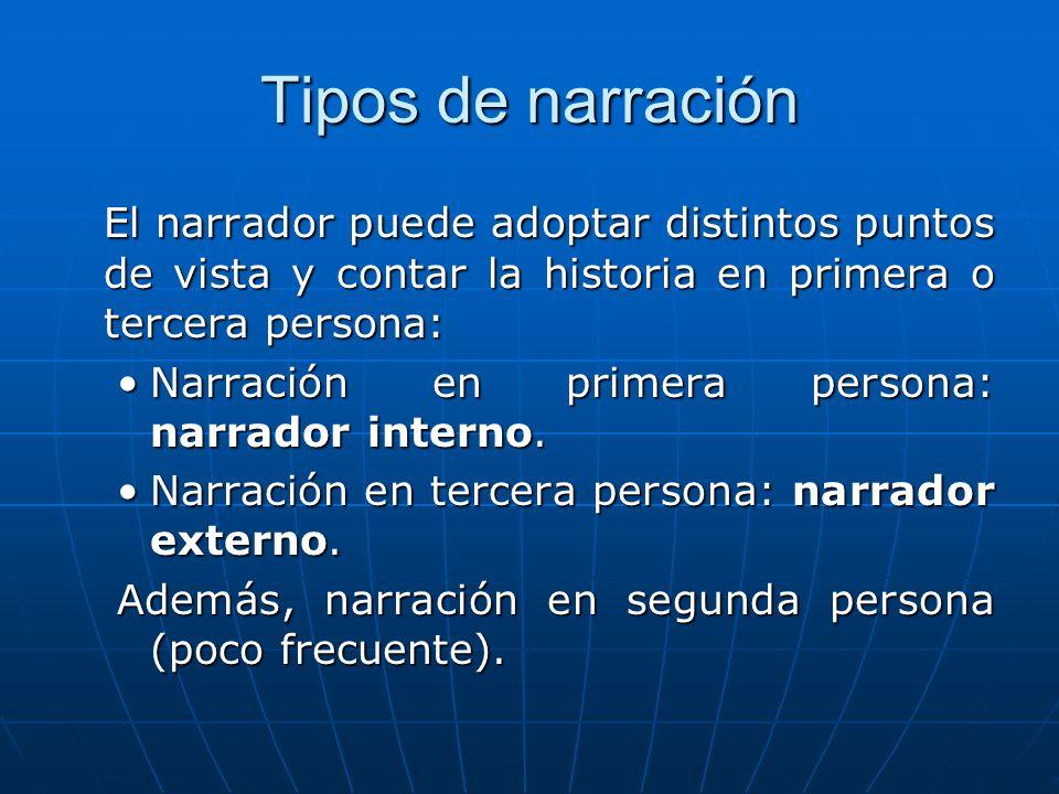 Tipos de narración El narrador puede adoptar distintos puntos de vista y contar la historia en primera o tercera persona: