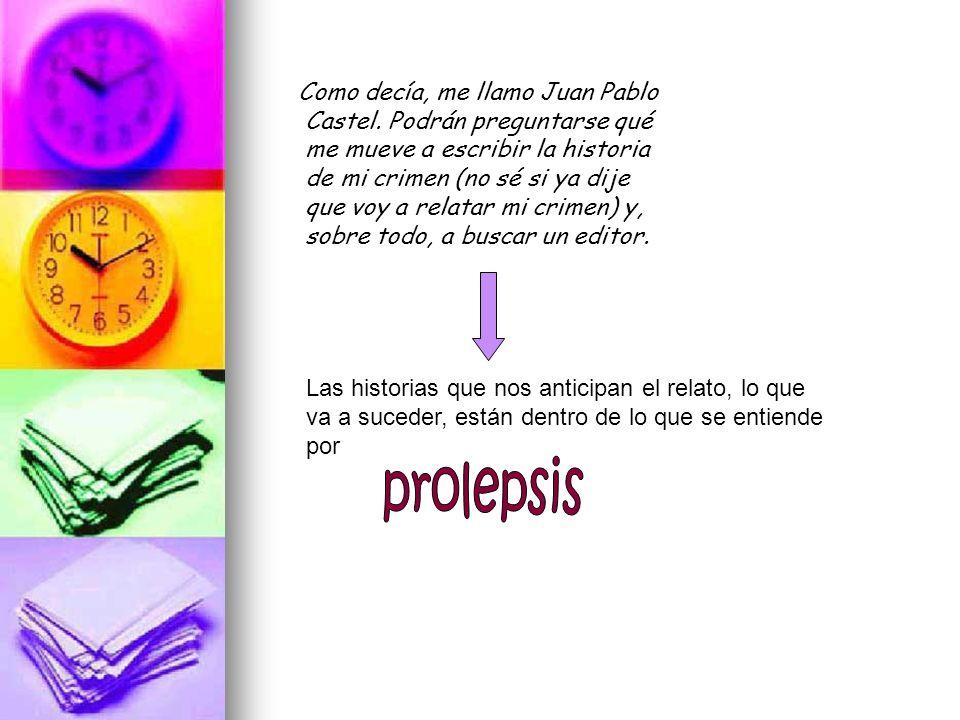 prolepsis Como decía, me llamo Juan Pablo