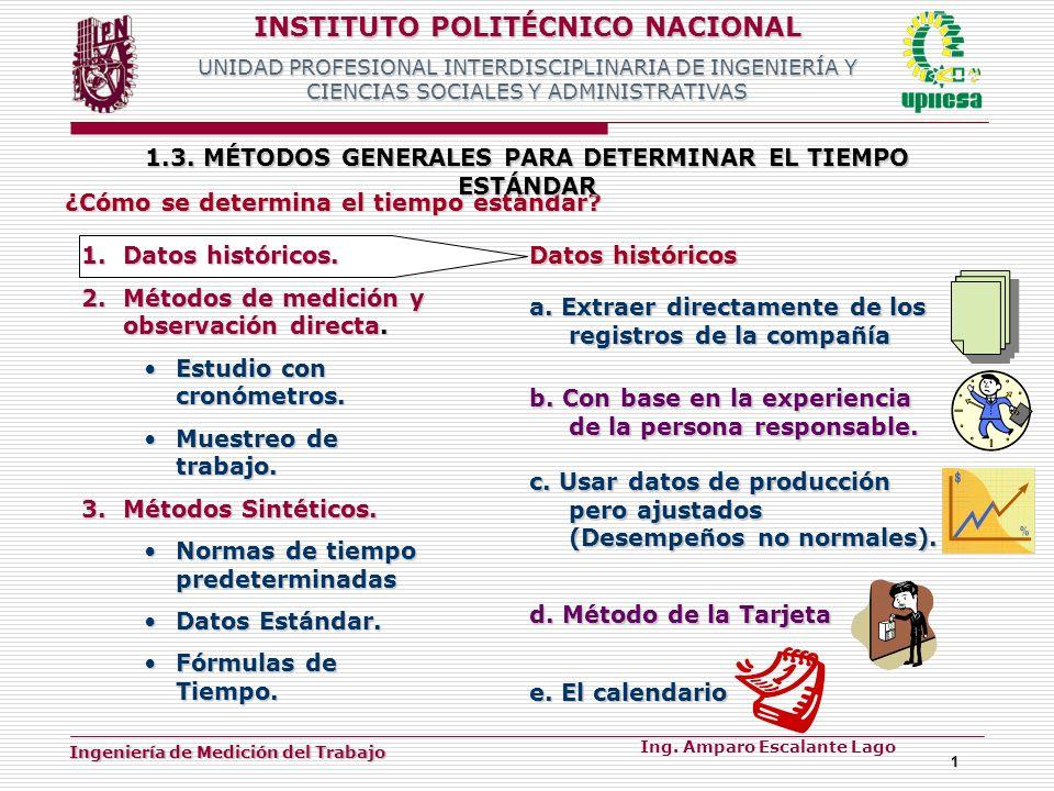 1.3. MÉTODOS GENERALES PARA DETERMINAR EL TIEMPO ESTÁNDAR