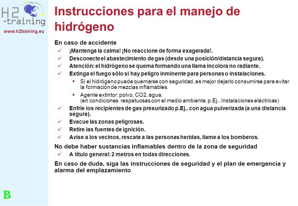 Instrucciones para el manejo de hidrógeno