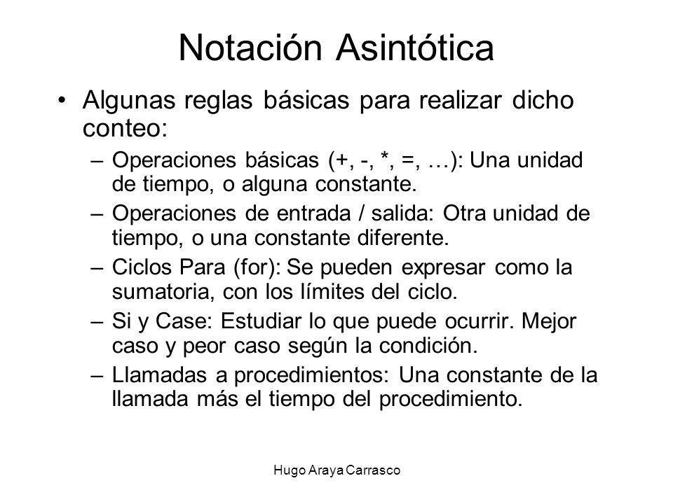 Notación Asintótica Algunas reglas básicas para realizar dicho conteo: