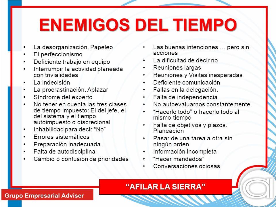 ENEMIGOS DEL TIEMPO AFILAR LA SIERRA La desorganización. Papeleo
