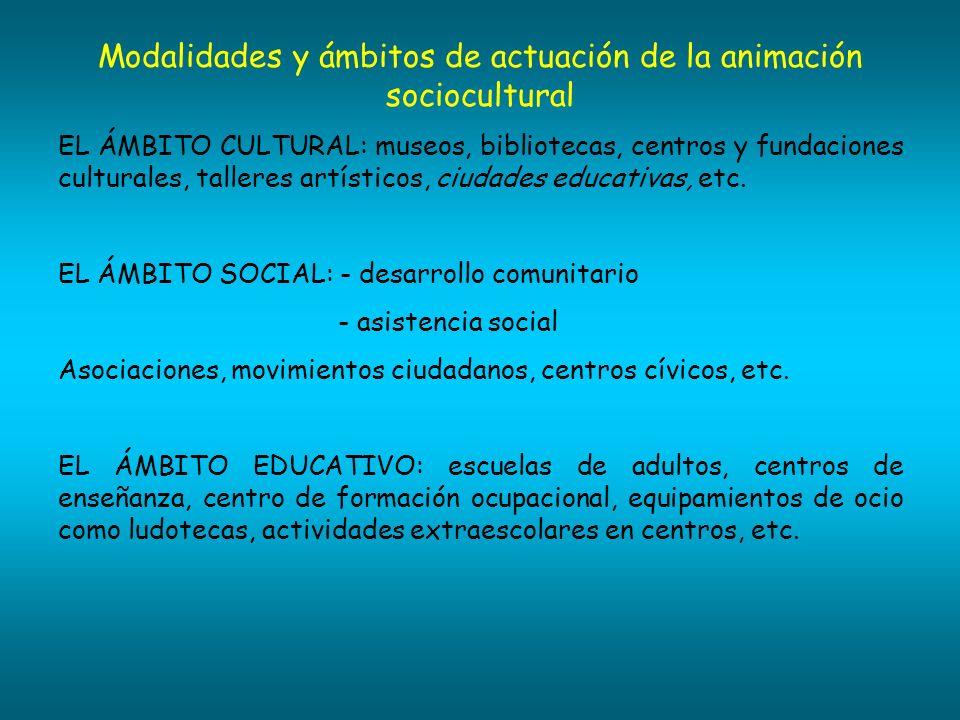 Modalidades y ámbitos de actuación de la animación sociocultural
