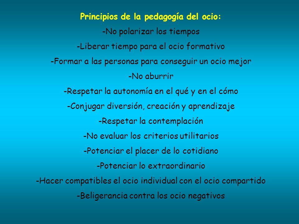 Principios de la pedagogía del ocio: