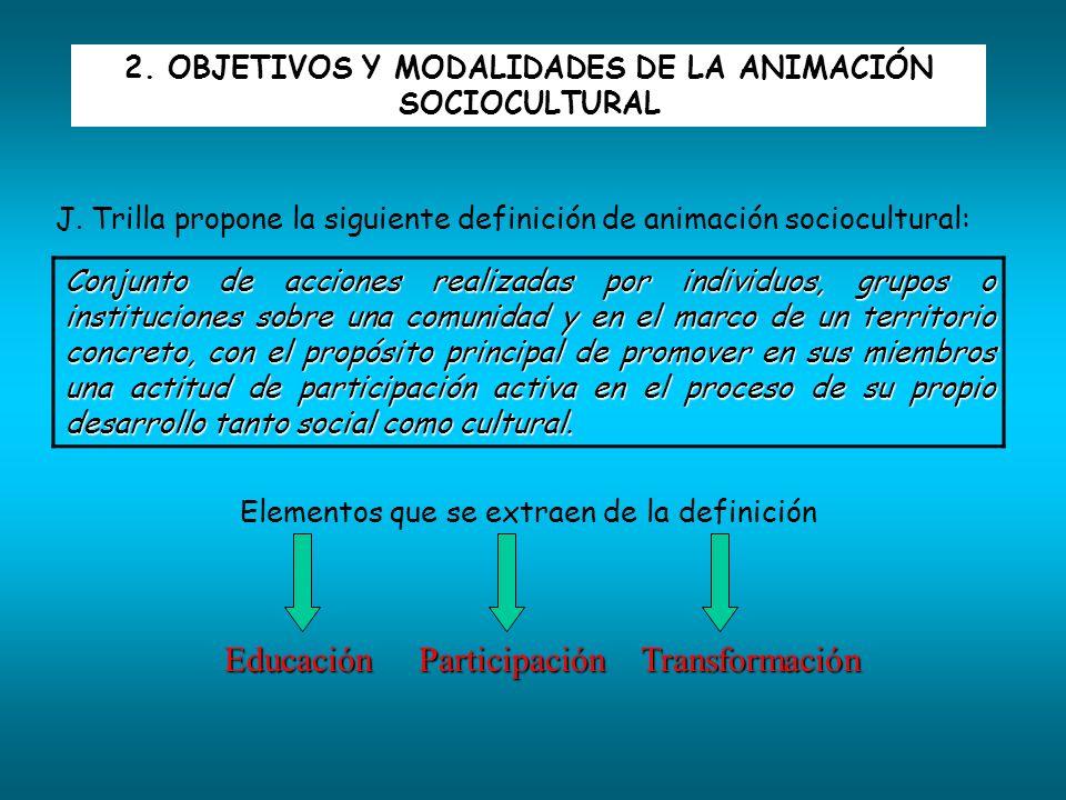 2. OBJETIVOS Y MODALIDADES DE LA ANIMACIÓN SOCIOCULTURAL