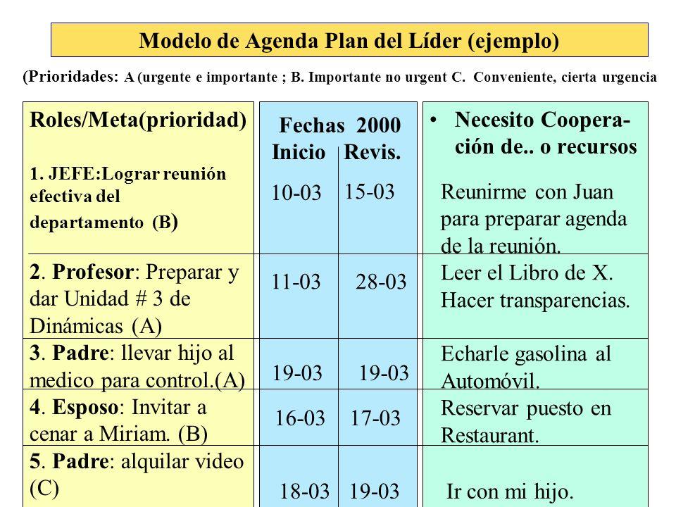 Modelo de Agenda Plan del Líder (ejemplo)
