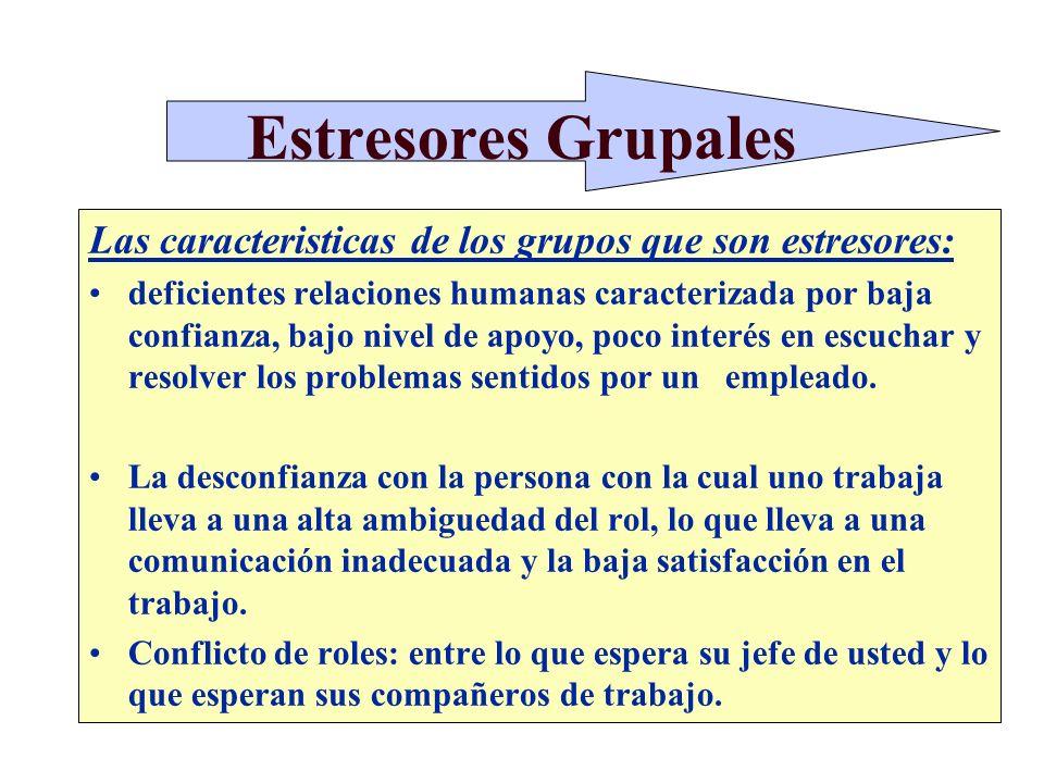 Estresores Grupales Las caracteristicas de los grupos que son estresores: