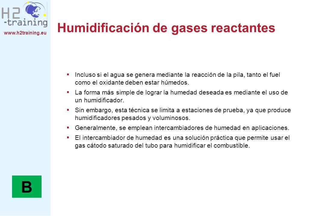 Humidificación de gases reactantes