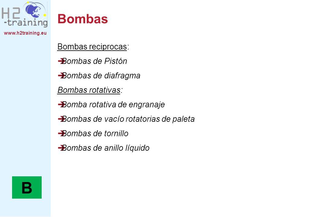 B Bombas Bombas reciprocas: Bombas de Pistón Bombas de diafragma