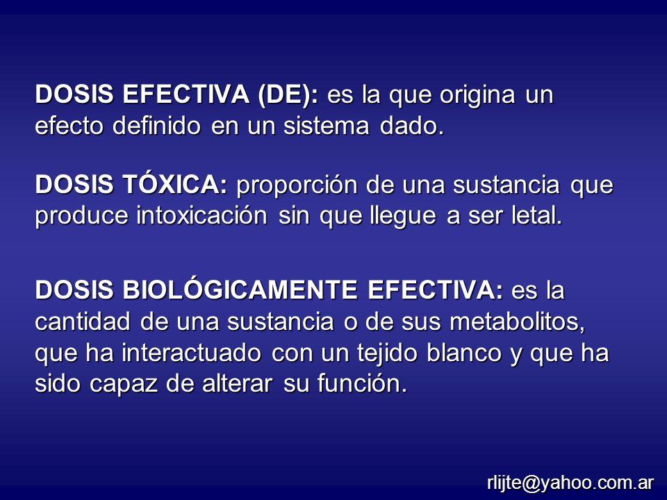 DOSIS EFECTIVA (DE): es la que origina un efecto definido en un sistema dado.