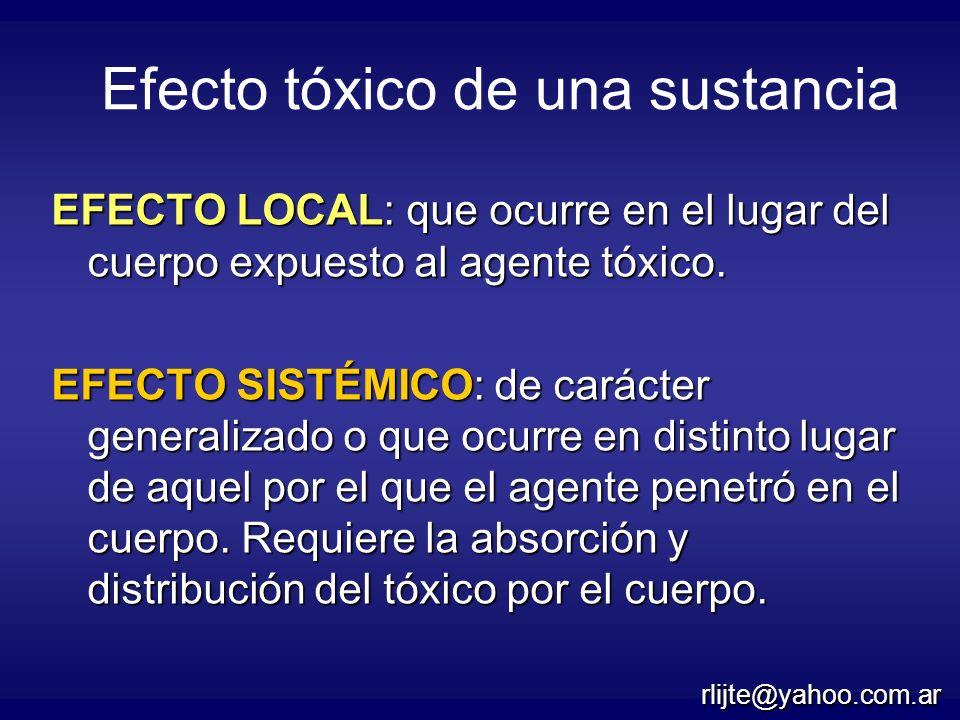 Efecto tóxico de una sustancia