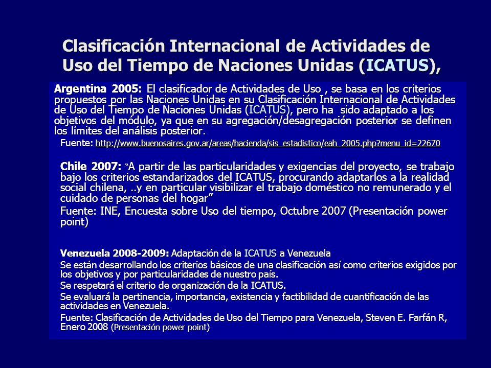 Clasificación Internacional de Actividades de Uso del Tiempo de Naciones Unidas (ICATUS),