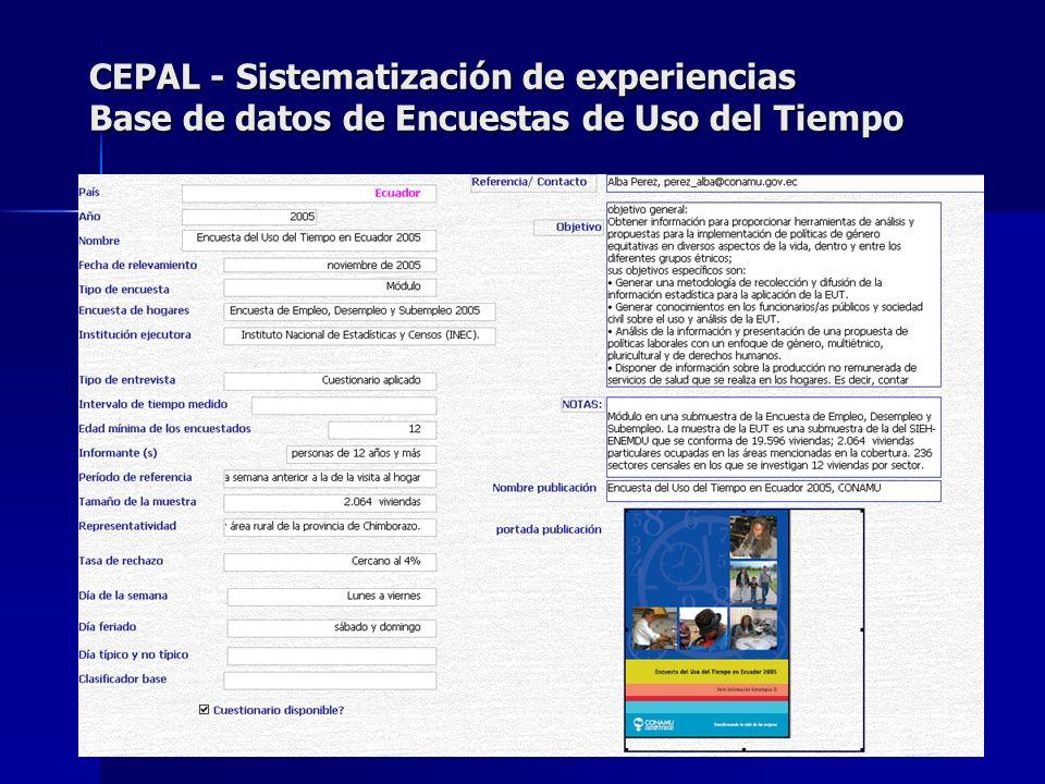 CEPAL - Sistematización de experiencias Base de datos de Encuestas de Uso del Tiempo