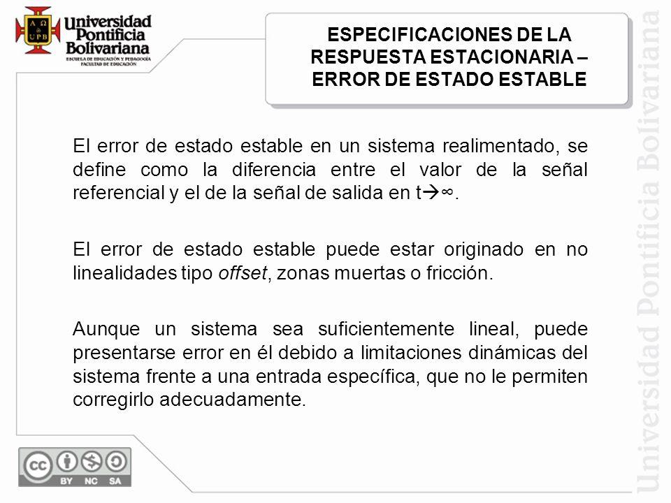 ESPECIFICACIONES DE LA RESPUESTA ESTACIONARIA – ERROR DE ESTADO ESTABLE