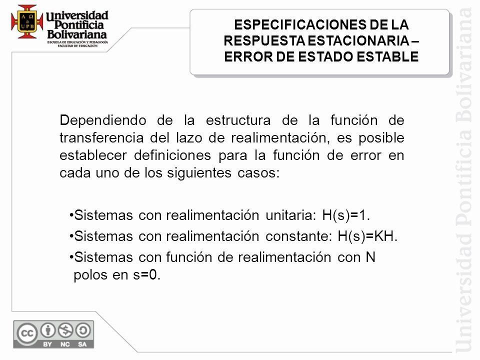 Sistemas con realimentación unitaria: H(s)=1.