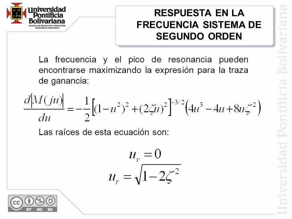 RESPUESTA EN LA FRECUENCIA SISTEMA DE SEGUNDO ORDEN