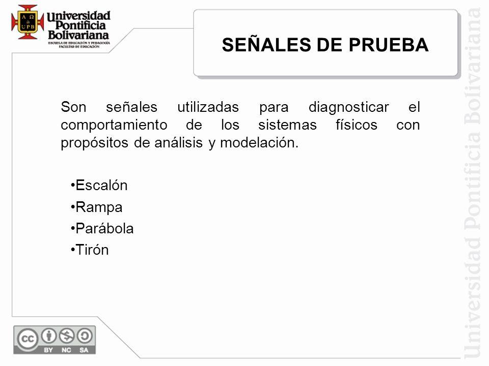 SEÑALES DE PRUEBA Son señales utilizadas para diagnosticar el comportamiento de los sistemas físicos con propósitos de análisis y modelación.