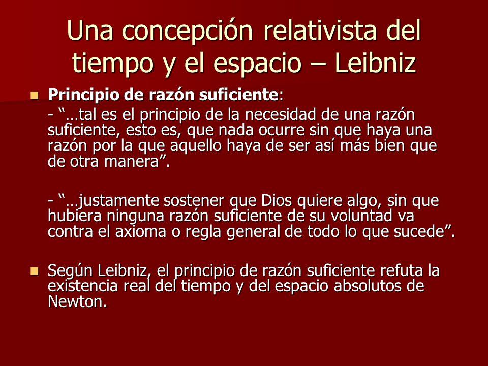 Una concepción relativista del tiempo y el espacio – Leibniz