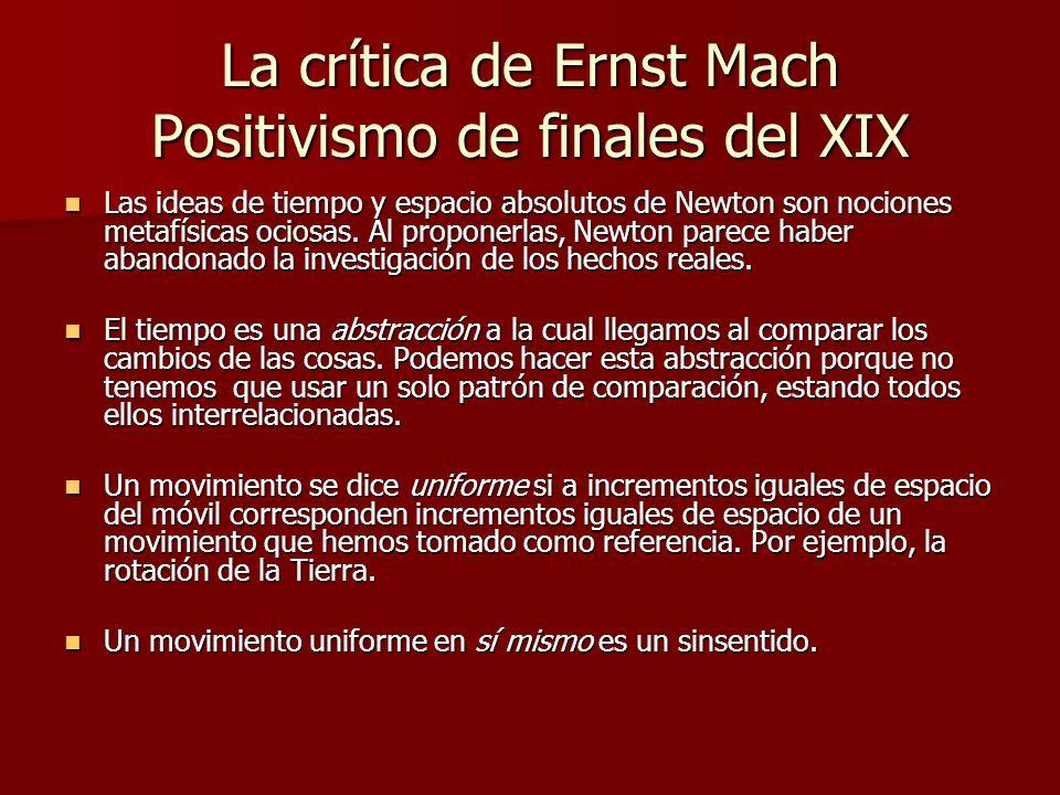 La crítica de Ernst Mach Positivismo de finales del XIX
