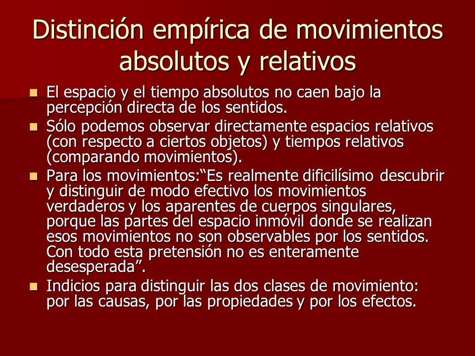 Distinción empírica de movimientos absolutos y relativos